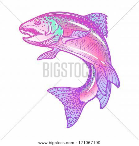 Realistic intricate drawing of the rainbow trout jumping out. Pastel color hand drawing isolated on white background. Concept art for horoscope, tattoo or colouring book. EPS10 vector illustration