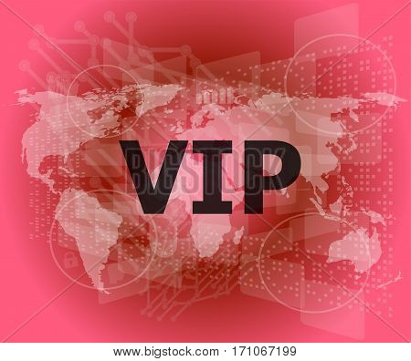 Words Vip On Digital Screen, Business Concept