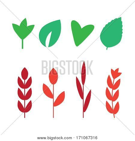 Seaweed set vector illustration. Yellow and brown red and green aquarium seaweeds biodiversity