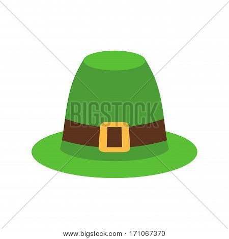 Leprechaun Hat Green Isolated. National Irish Retro Cap For Dwarf. Illustration For St. Patricks Day