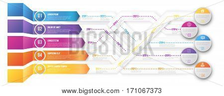 3D infographics style arrows, plexiform roadmap paths with steps pointed to different ways and goals. Vector illustration on white background