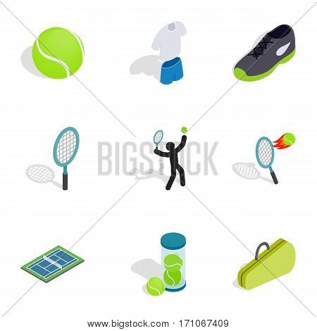 Tennis icons set. Isometric 3d illustration of 9 tennis vector icons for web