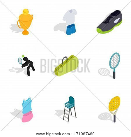 Tennis game icons set. Isometric 3d illustration of 9 tennis game vector icons for web