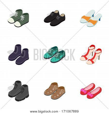 Fashion footwear icons set. Isometric 3d illustration of 9 fashion footwear vector icons for web
