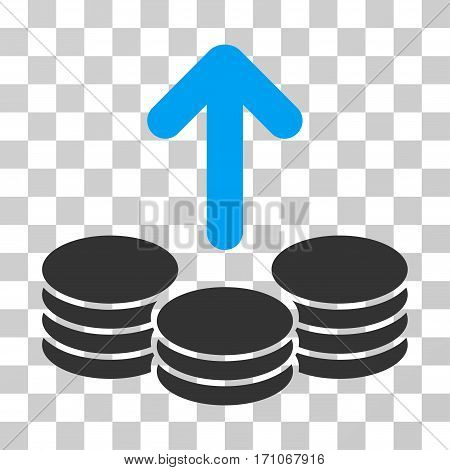 Payout Coins icon. Vector illustration style is flat iconic bicolor symbol blue and gray colors transparent background. Designed for web and software interfaces.