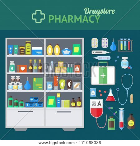 Pharmacy Store and Element Set Concept Showcase with Drugs, Tablets Pills Bottles Flat Design Style. Vector illustration