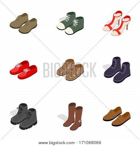 Various shoes icons set. Isometric 3d illustration of 9 various shoes vector icons for web