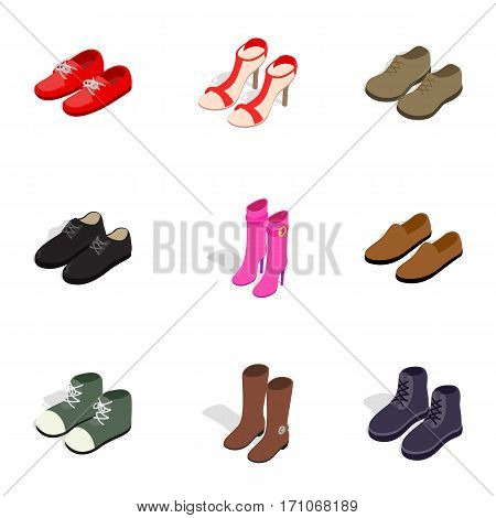 Footwear icons set. Isometric 3d illustration of 9 footwear vector icons for web
