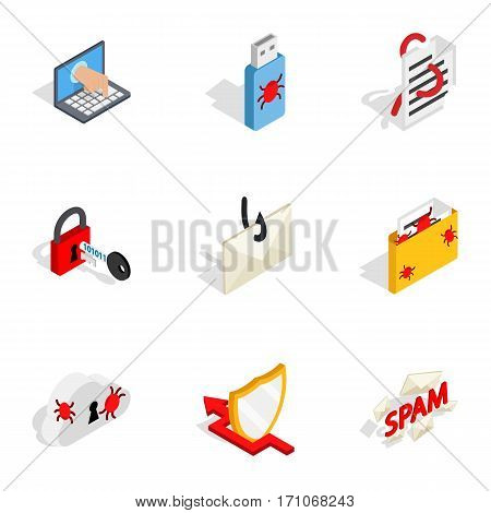 Computer security icons set. Isometric 3d illustration of 9 computer security vector icons for web