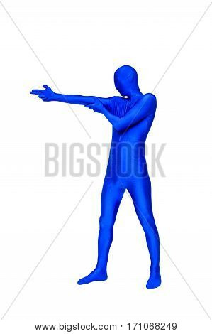Mysterious Blue Man In Morphsuit Shows The Firing Of Guns