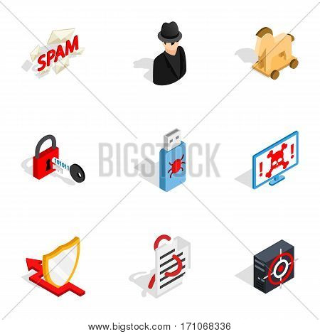 Spam, virus, thief icons set. Isometric 3d illustration of 9 spam, virus, thief vector icons for web