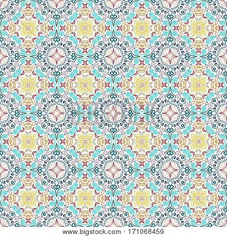 Blue yellow flower seamless pattern. Floral background. Luxury flourish ornament vector. Colorful weave stylized intricate curvy decoration. Furniture fabric print, wallpaper. Interior design element.