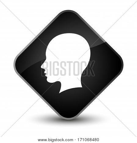 Head Female Face Icon Special Black Diamond Button