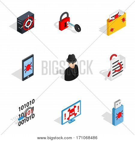 Hacker icons set. Isometric 3d illustration of 9 hacker vector icons for web