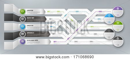 Timeline Infographic 3D Vector Template with Green, Black and Blue Arrows Pointed to Multiple Ways for Different Steps and Goals