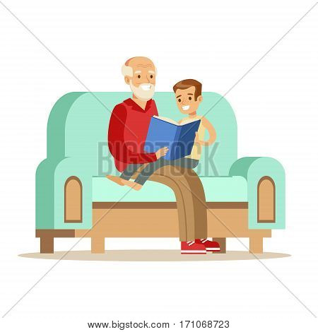 Grandfather And Boy Reading A Book, Part Of Grandparents Having Fun With Grandchildren Series. Different Generations Of Family Enjoying Time Together Vector Cartoon Illustration.
