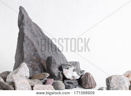 group of stones in the shape of rock on white background