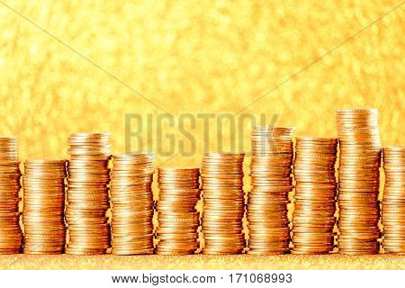 Stacks Of Golden Coins Arranged As A Graph