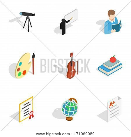 School supplies icons set. Isometric 3d illustration of 9 school supplies vector icons for web