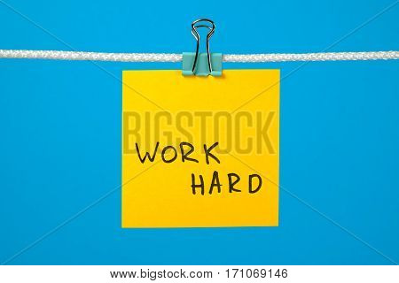 """Yellow Paper Note On The String With Text """"work Hard"""""""