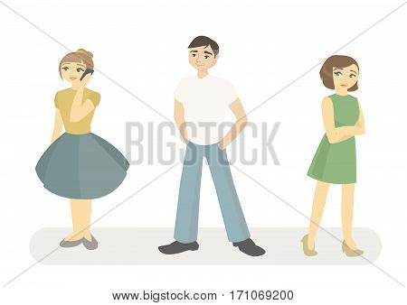 vector illustration young people in their everyday life