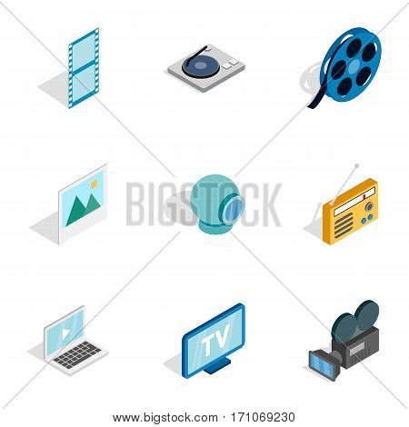 Audio and video icons set. Isometric 3d illustration of 9 audio and video vector icons for web