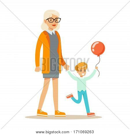 Grandmother And Boy With Balloon Holding Hands Walking, Part Of Grandparents Having Fun With Grandchildren Series. Different Generations Of Family Enjoying Time Together Vector Cartoon Illustration.