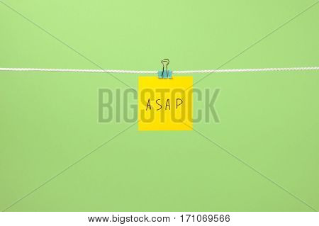 """Yellow Paper Note On The String With Text """"asap"""""""