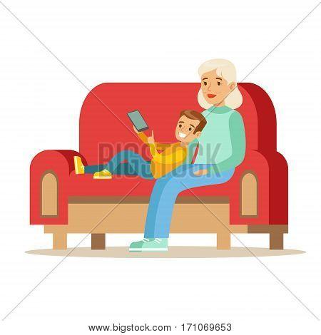 Grandmother And Boy Reading Electronic Book, Part Of Grandparents Having Fun With Grandchildren Series. Different Generations Of Family Enjoying Time Together Vector Cartoon Illustration.