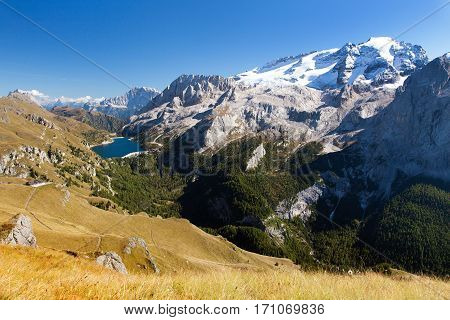 Autumnal view of mount Marmolada and mount civetta Dolomiti Italy