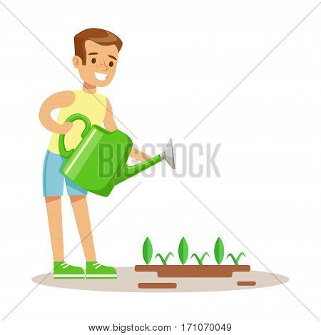 Little Boy Watering Garden Plant WIth Watering Can, Part Of Grandparents Having Fun With Grandchildren Series. Different Generations Of Family Enjoying Time Together Vector Cartoon Illustration.