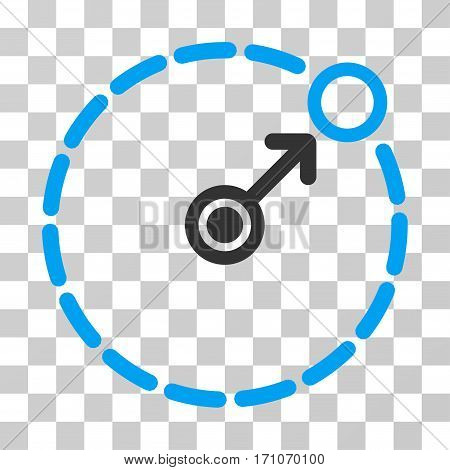 Round Area Border icon. Vector illustration style is flat iconic bicolor symbol blue and gray colors transparent background. Designed for web and software interfaces.