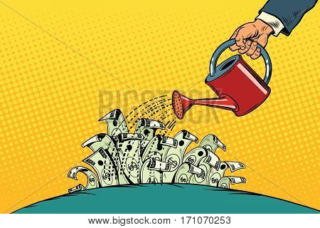 businessman watered money dollars from a watering can. Vintage pop art retro vector. Startup and Business Incubator