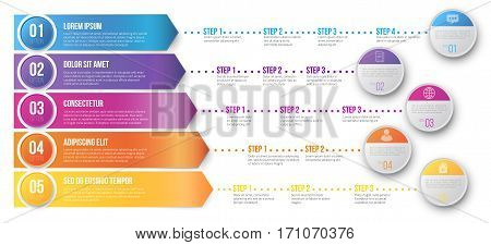 Arrows pointed to different ways with several steps for your goals - colored vector graph template on white background