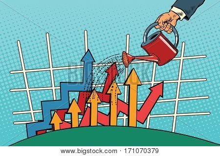 businessman watered arrow growth chart from a watering can. Vintage pop art retro vector. Startup and Business Incubator
