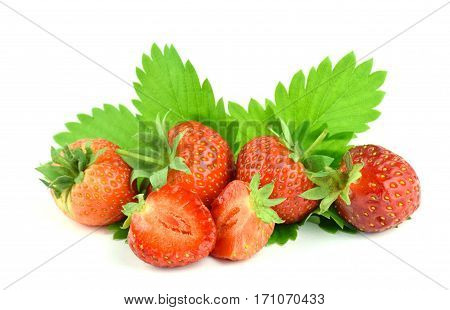 A pile of delicious strawberries and leaves isolate on a white background. organic products. Eating right. Season.