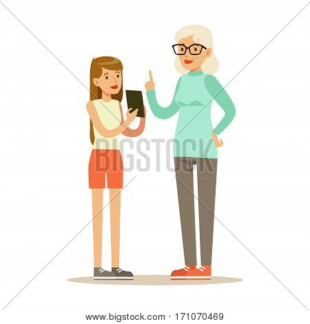 Teenage Girl Showing Tablet To Grandmother, Part Of Grandparents Having Fun With Grandchildren Series. Different Generations Of Family Enjoying Time Together Vector Cartoon Illustration.