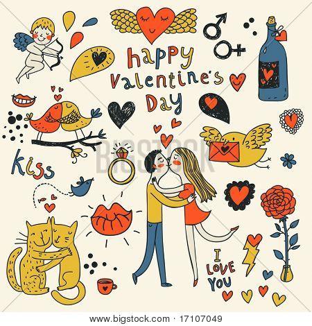 Vector valentine doodles set in color
