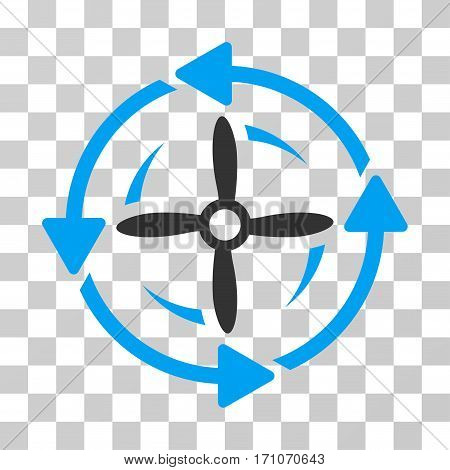 Screw Rotation icon. Vector illustration style is flat iconic bicolor symbol blue and gray colors transparent background. Designed for web and software interfaces.