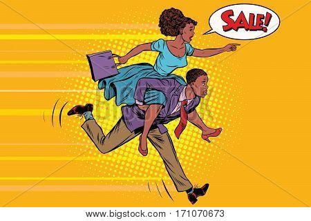 wife riding husband runs on sale. Vintage pop art retro vector. High demand. African American people
