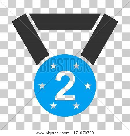 Second Medal icon. Vector illustration style is flat iconic bicolor symbol blue and gray colors transparent background. Designed for web and software interfaces.