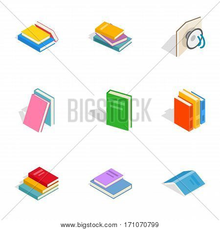 Books icons set. Isometric 3d illustration of 9 books vector icons for web