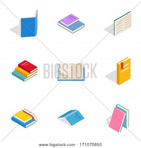 Literature icons set. Isometric 3d illustration of 9 literature vector icons for web