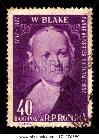 ROMANIA - CIRCA 1958: A stamp printed in Romania shows William Blake, english poet,  painter and printmaker, circa 1958