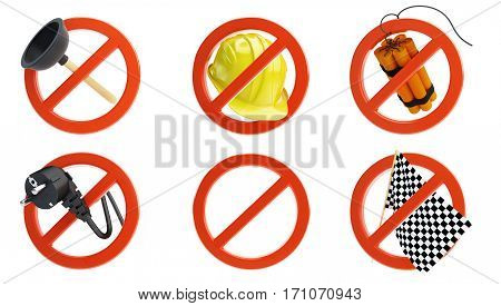 no signs for different prohibited activities set on a white background 3D illustration