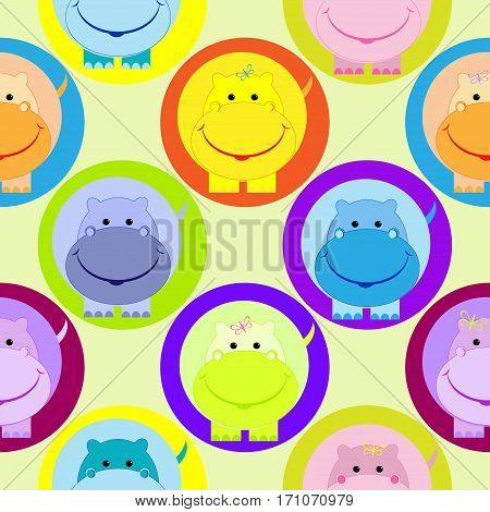 Seamless children pattern with cute colored  hippo in the circle vector illustration