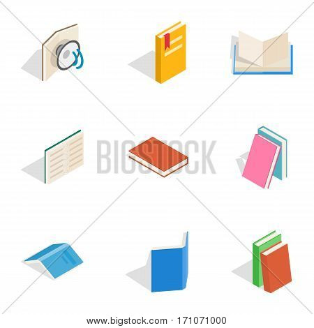 Reading icons set. Isometric 3d illustration of 9 reading vector icons for web