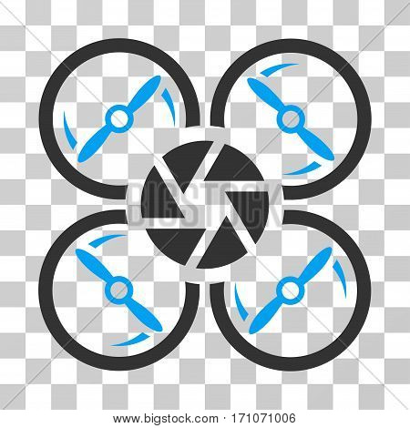 Shutter Drone icon. Vector illustration style is flat iconic bicolor symbol blue and gray colors transparent background. Designed for web and software interfaces.