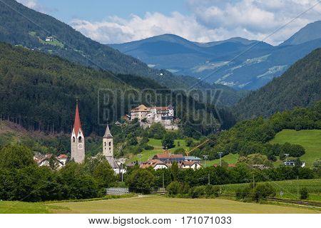 Beautiful view of Italian town San Lorenzo Di Sebato near Bruneck