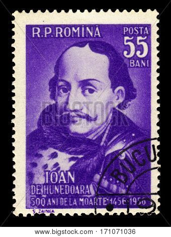ROMANIA - CIRCA 1956: A stamp printed in Romania shows Ioan de Hunedoara (John Hunyadi ), leading hungarian military and political figure, voivode of Transylvania, 500th Death Day, circa 1956